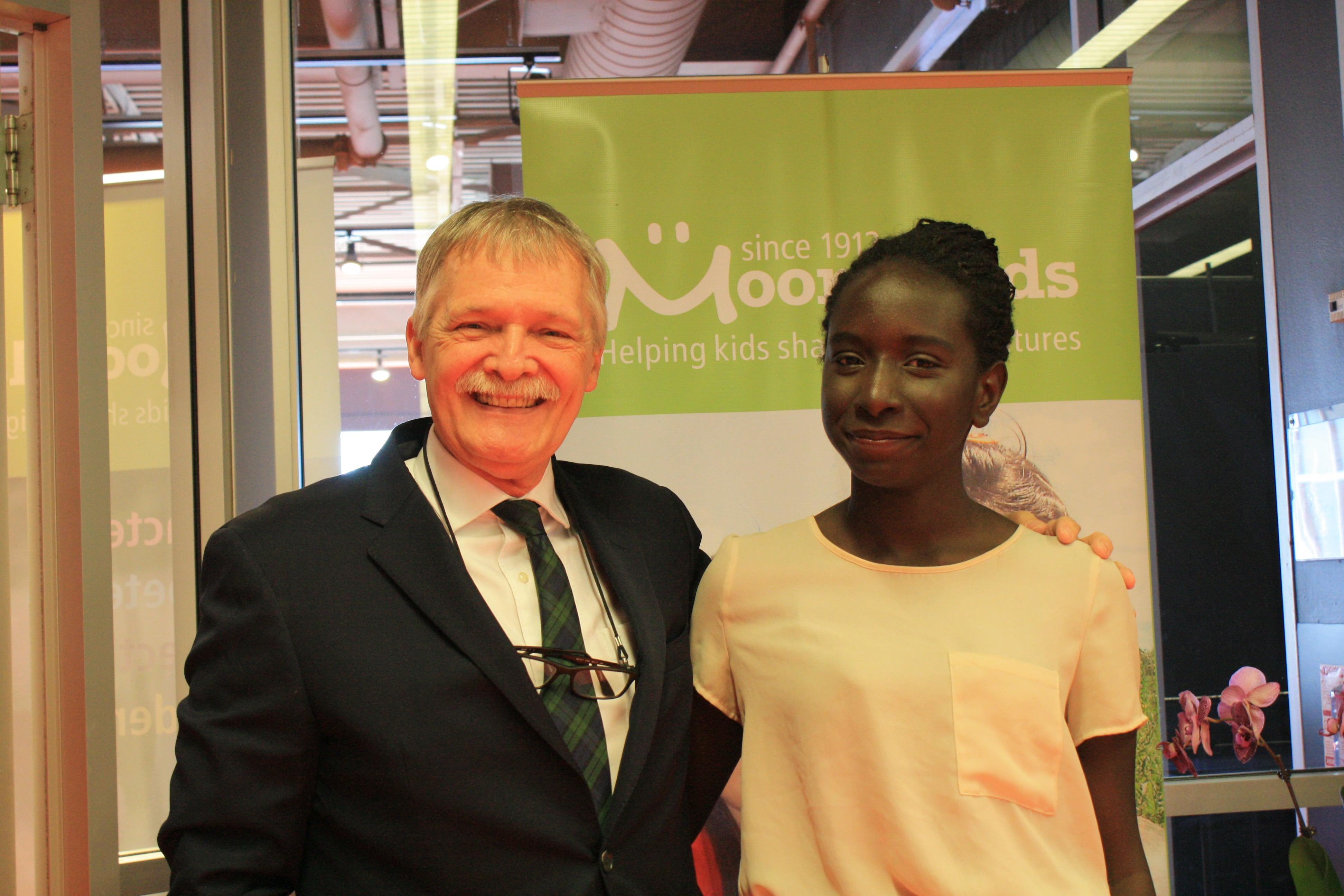 AGM 2016: Moorelands' Board member John Shelly and Youth Ambassador Khalida Elsadati.