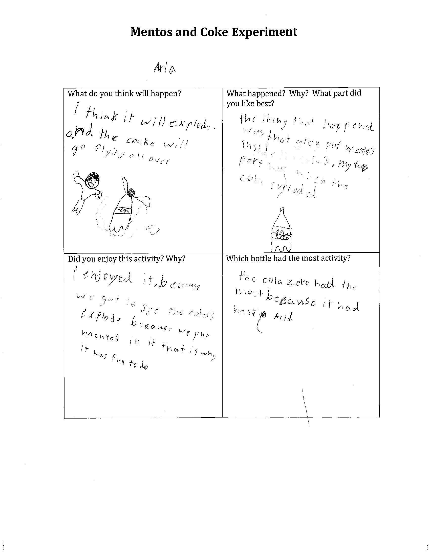 BLAST Mentos and Coke Experiment Worksheet