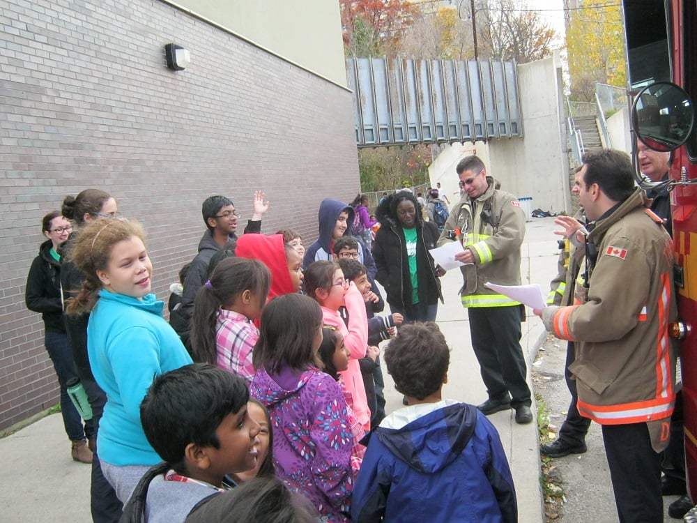 Fire Services teach kids about Fire Safety