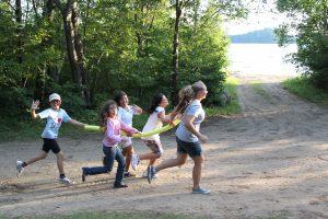 summer camp girls having fun