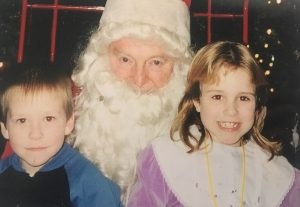 Lee and her brother meet santa!