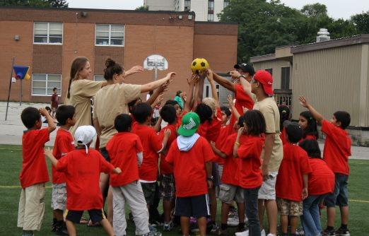 Kids work on team goals